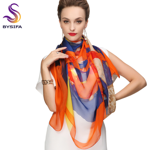 Winter Ladies Orange Blue Silk Scarf Shawl New Brand Bright Accessories Women Long Scarves Tippet 180*110cm Spring Chiffon Scarf