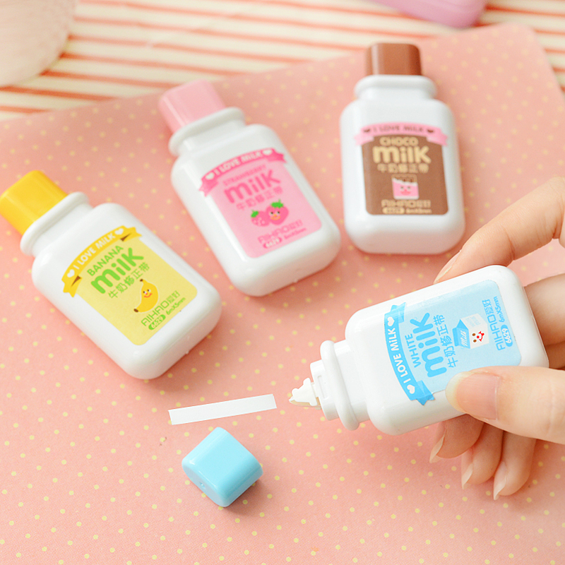F48 Creative Milk Bottle Correction Tape Corrective Fluid School & Office Supply Student Stationery Kids Gift