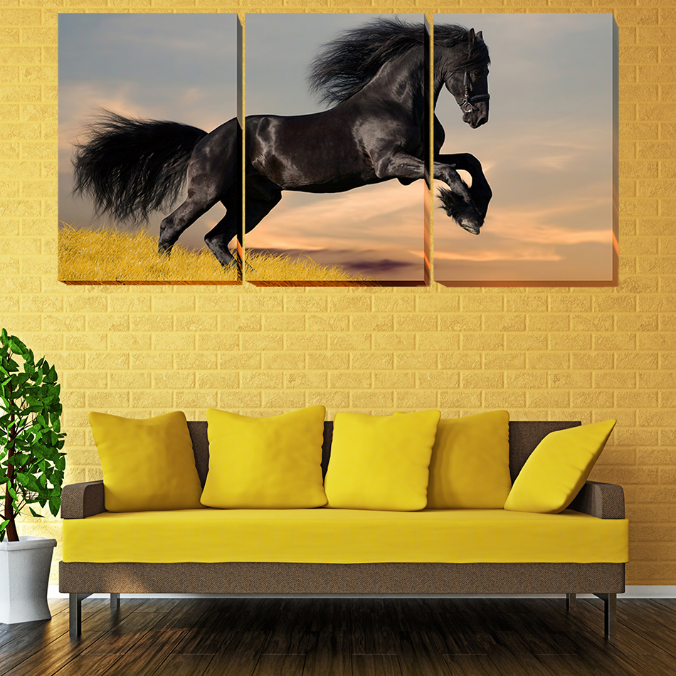 Unframed Black Horse On The Grass R Modern Painting Canvas Wall Art ...