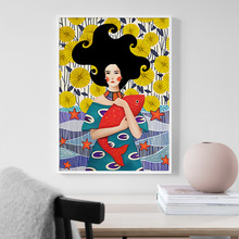 Hand Painted Abstract Long Hair Girl Fish Wall Art Canvas Painting Nordic Posters And Prints Pictures For Living Room Decor