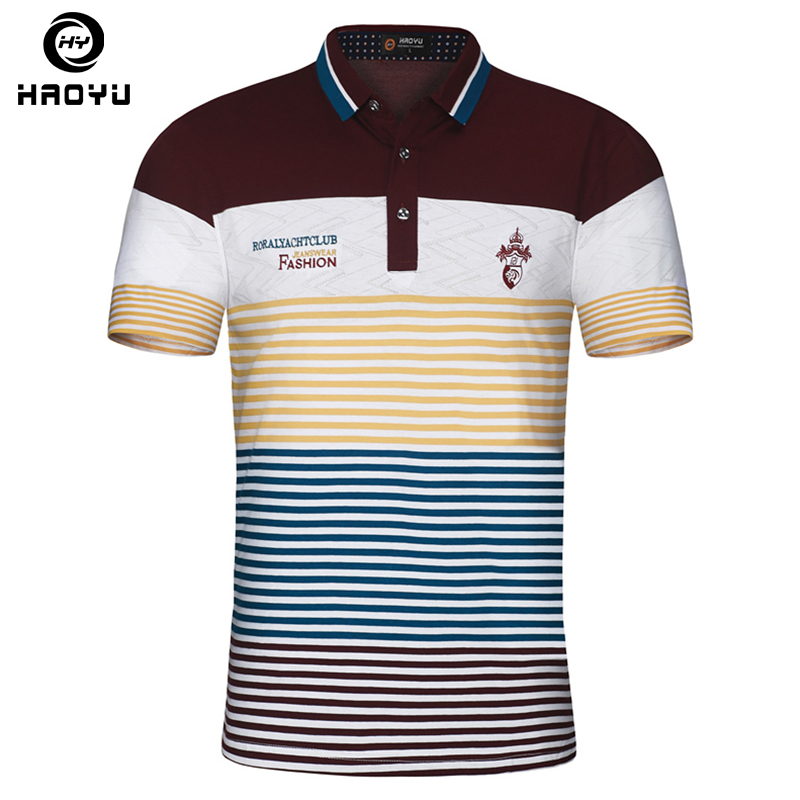 Men's Polo Shirt Air Cotton Short Sleeves Letter Logo Famous Brand Slim Gradient England Style Shirt Polo Homme New Haoyu