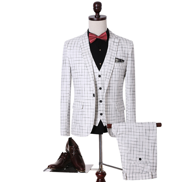 New Large Sizes 5XL Jacket+Pants+Vest 3Pieces Plaid Suit Blazer Jacket Slim Fit Wedding Suits for Men Groom Casual Business Suit