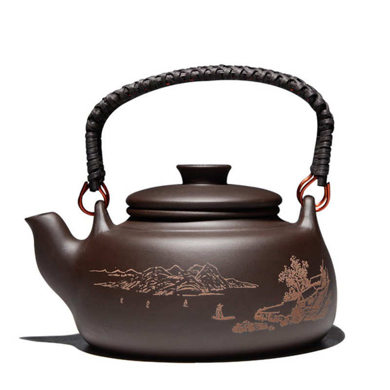 420CC Purple Clay Tea Pot Chaleira Barro Kettle Chinese Kung Fu Drinkware With Filter Creative Handle
