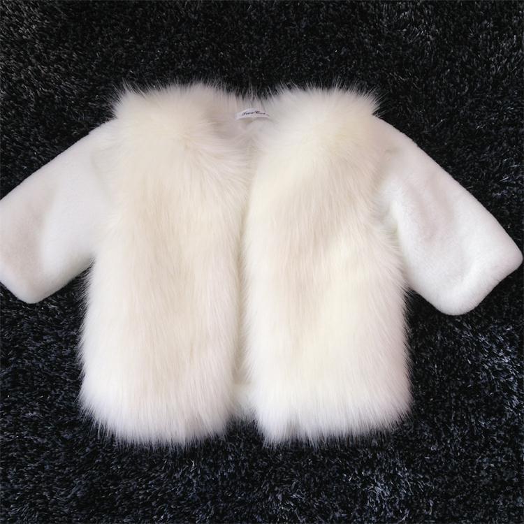 Girls White Faux Fur Coat - Coat Nj