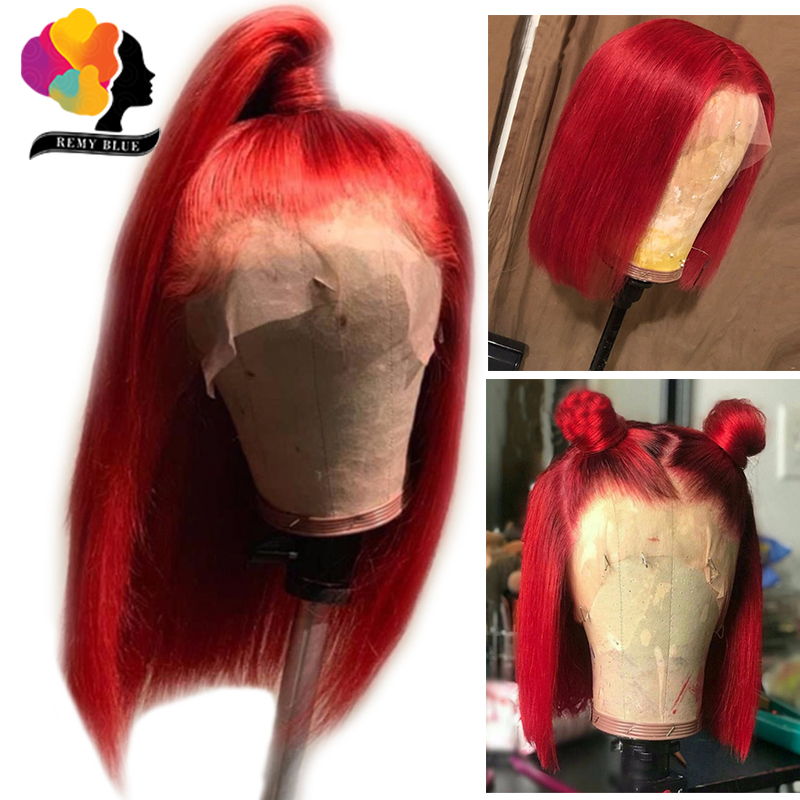 Ombre Red Human Hair Wigs Short Bob Wigs 13X4 Lace Frontal Wig Color Lace Front Wigs With Baby Hair Remyblue Peruvian Remy Hair
