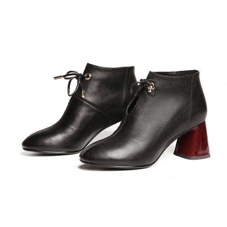 MLJUESE 2019 kobiety kostki buty skóra bydlęca czarny kolor Riband lace up jesień wiosna wysokie obcasy damskie buty rozmiar 40 w Buty do kostki od Buty na  Grupa 3