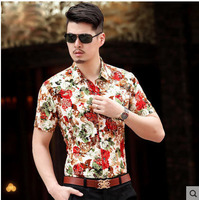 New Plus Size Men S Cotton Short Sleeved Summer Shirt Casual Plaid Korean Slim Floral Single