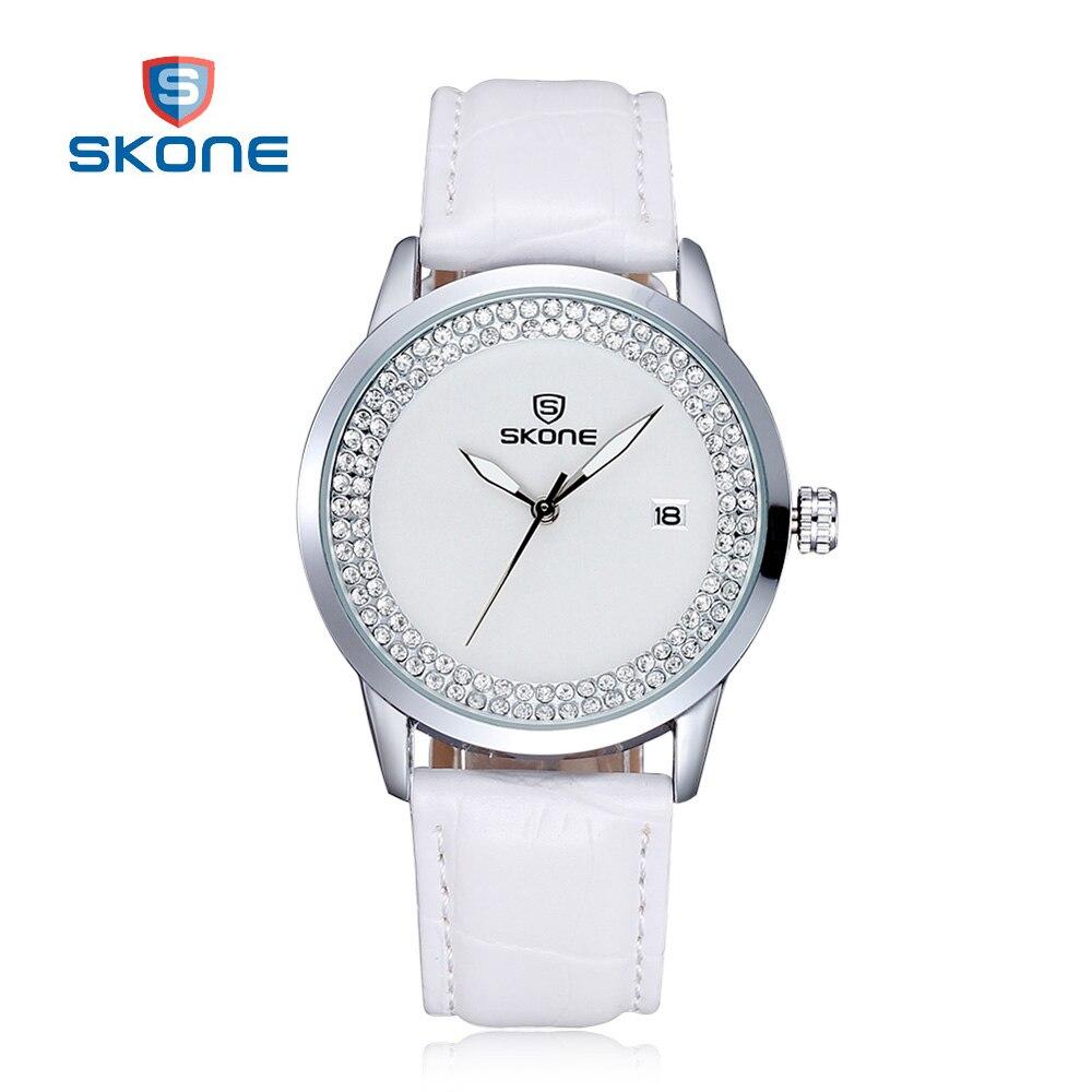 Prix pour SKONE Dames Blanches Montre pour Femmes Montres De Luxe Marque De Mode Quartz Montre de Femmes Horloge Montre-Bracelet Relogio Feminino