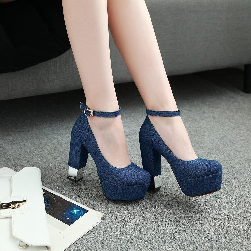 De Nouveau Sexy Des Matériel Chaussures Printemps D'été Mode Bleu Production Avec Femmes Épais Ciel Et Talons Denim Qzyerai Hauts Simples pu 6qd4xFq