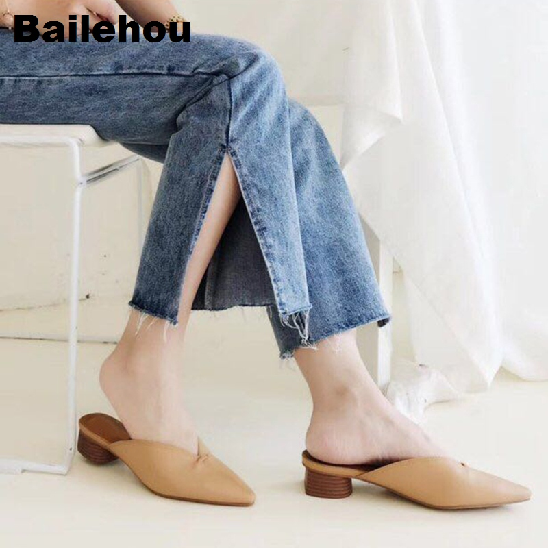 Bailehou Women Slippers Slip On <font><b>Mule</b></font> <font><b>Shoes</b></font> Sexy Shallow Women Heel <font><b>Shoes</b></font> Platform Chaussure Work <font><b>Shoes</b></font> Spring Footwear Sandals