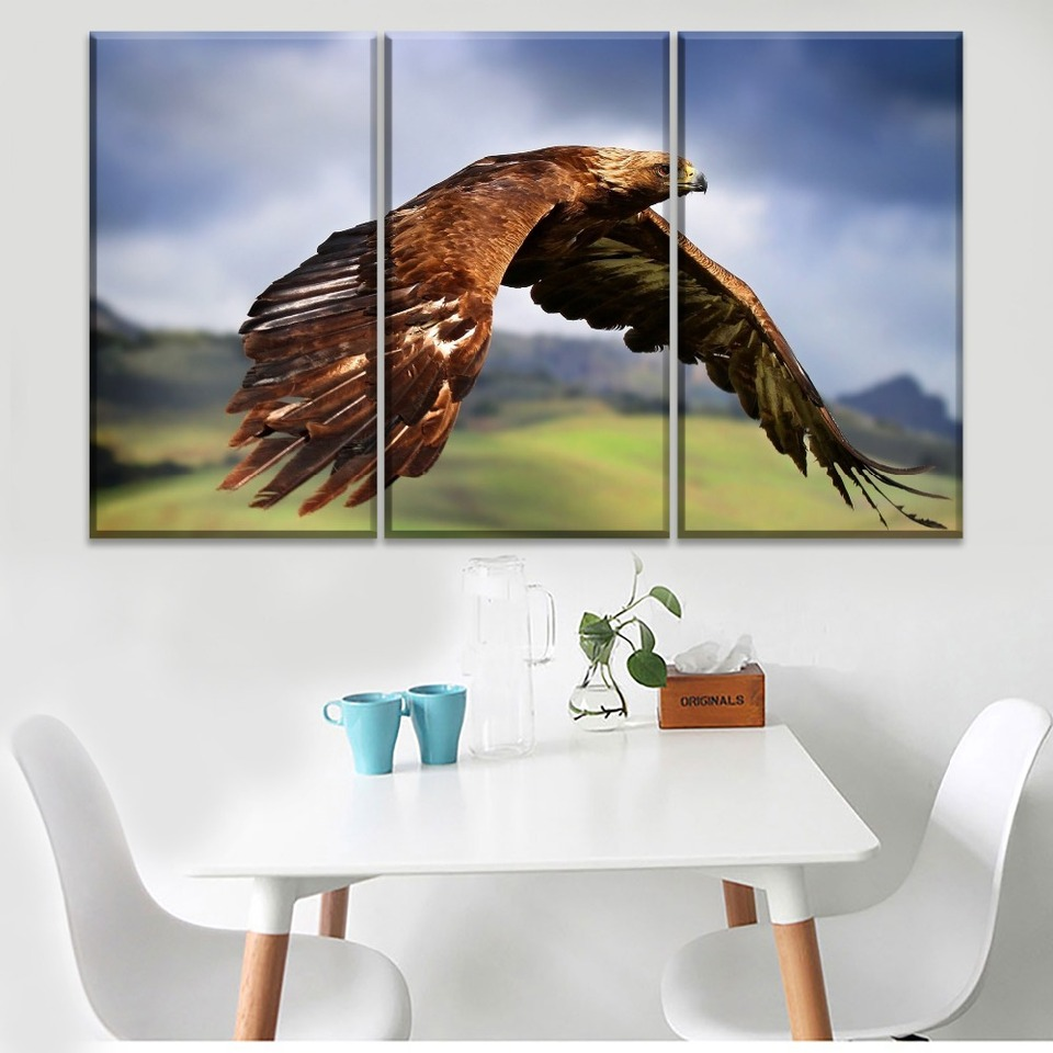 Golden Eagle Flying Canvas Print Art Animals Home Decor Wall Art