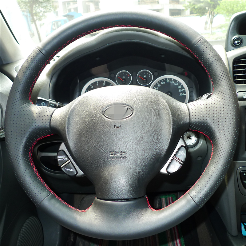 BANNIS Black Artificial Leather DIY Hand-stitched Steering Wheel Cover for Old Hyundai Santa Fe