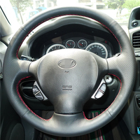 Black Artificial Leather DIY Hand Stitched Steering Wheel Cover For Old Hyundai Santa Fe