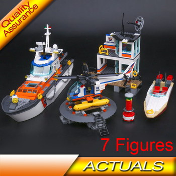 Lepin 02081 BELA 10755 Coast Guard Headquarters Building Blocks Compatible with Lego 60167 City Helicopter Ship Car Shark Toy