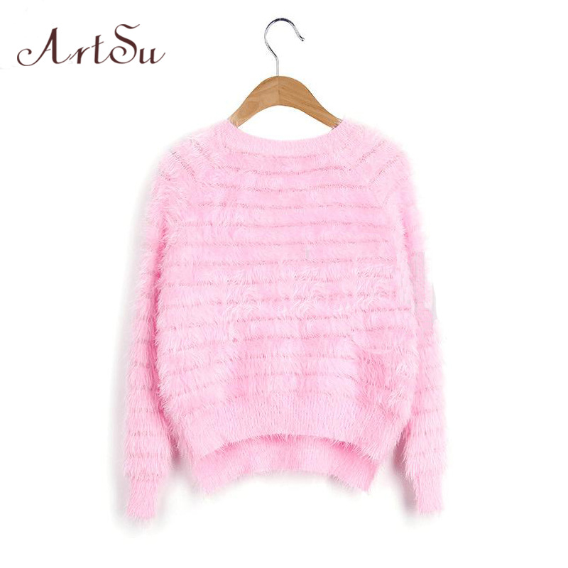 New 2016 Winter Free Shipping 8 Colors Crew Neck Warm Winter Women Mohair Sweater Pullover Solid Women Sweaters EPSW80016