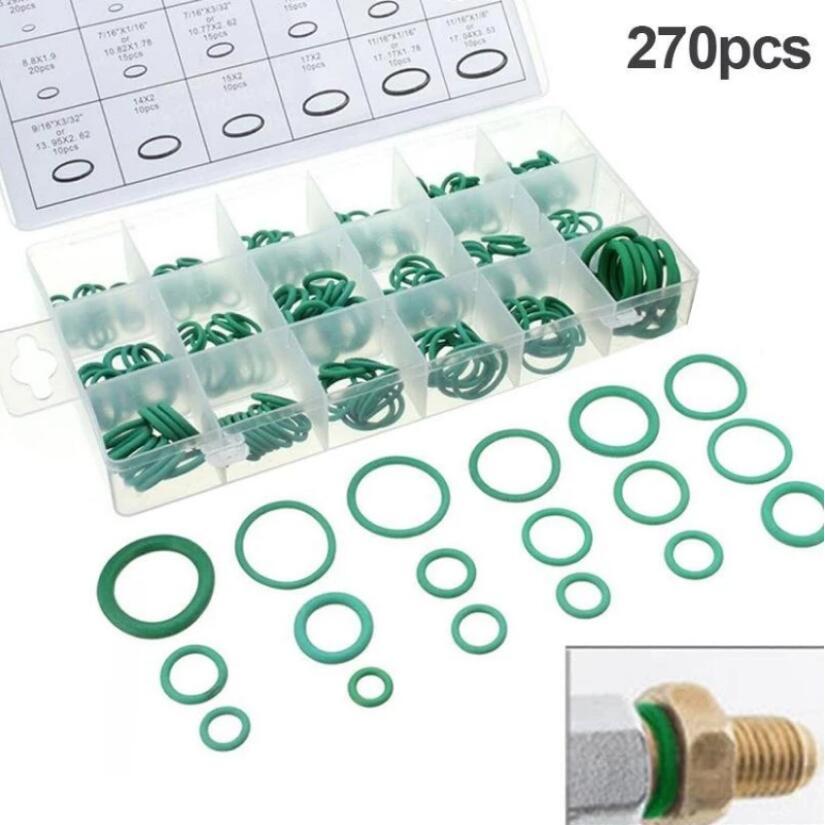 Новый инструмент резиновое кольцо уплотнительное кольцо шайба Уплотнители ассортимент зеленый 18 Размеры 270 шт. для авто автомобиль ремонт
