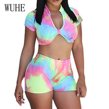 WUHE  Summer Tie Dyed Print Two Pieces Sets Playsuits Elegant Hollow Out Waistline Jumpsuits Fashion Vintage Brand for Women
