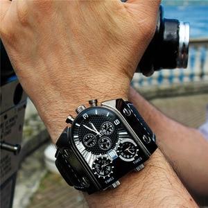Image 1 - Oulm 腕時計メンズクォーツカジュアルレザーストラップ腕時計スポーツマルチタイムゾーンミリタリー男性時計 erkek saat ドロップシッピング
