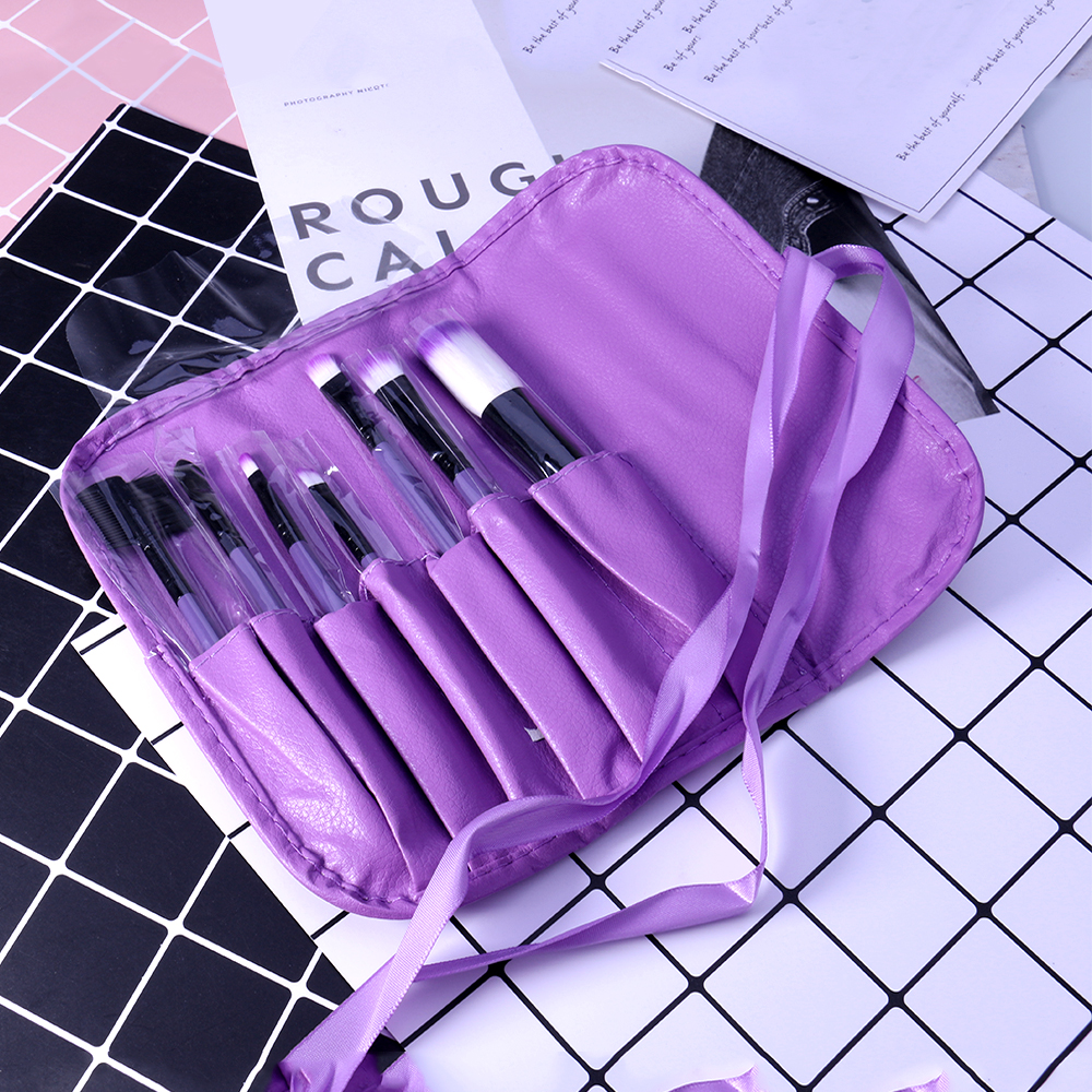 O.TWO.O Makeup Brushes Set 7pcs/lot Soft Synthetic Hair Blush Eyeshadow Lips Make Up Brush With Leather Case For Beginner Brush 5