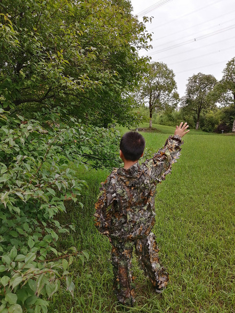 Children's new 3D leaf camouflage suit Geely suit Bird watching suit Shooting camouflage Hunting clothes and pants 2