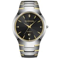 GUANQIN GQ30018 calendar Luxury Brand Men's Watch Tungsten Steel Quartz Watches Fashion Silver Rose Gold Watches