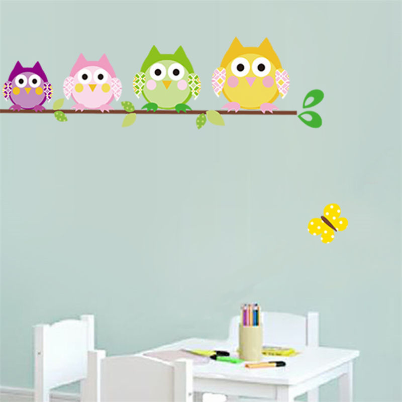 Owls wall stickers for kids room decorations animal adesivo de parede home decals cartoon pvc safari owl mural arts