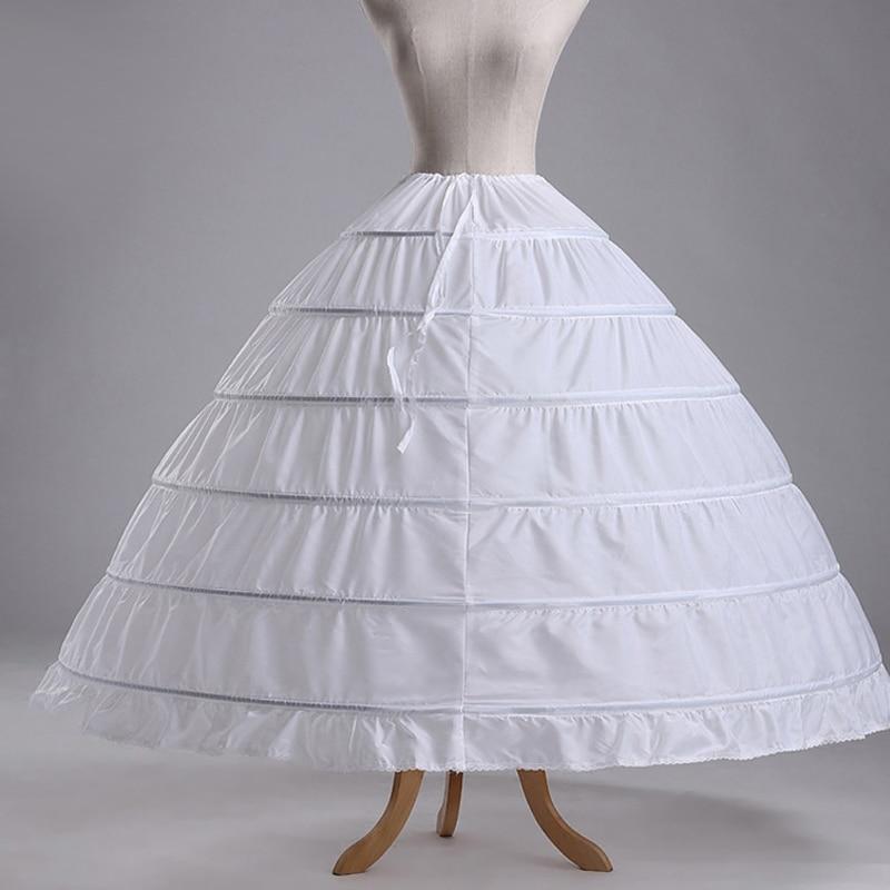2018 New 6-HOOP White Petticoat Wedding Gown Crinoline Petticoat Skirt Slip