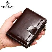 ManBang Echt Leer Mannen Portefeuilles Mode Trifold Wallet Zip Coin Pocket Purse Koeienhuid Leer man portemonnee hoge kwaliteit