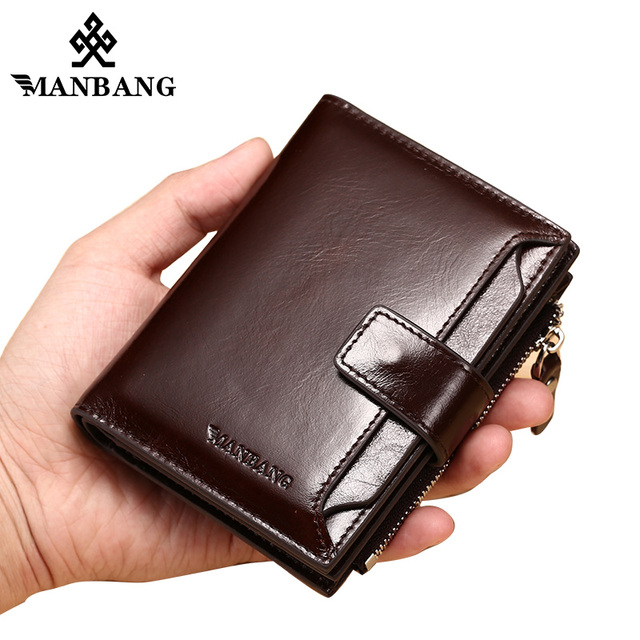 ManBang Genuine Leather Men Wallets Fashion Trifold Wallet Zip Coin Pocket Purse Cowhide Leather man wallet high quality