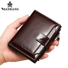 Manbang 정품 가죽 남성 지갑 패션 trifold 지갑 지퍼 동전 주머니 쇠가죽 채찍으로 치다 가죽 남자 지갑 고품질