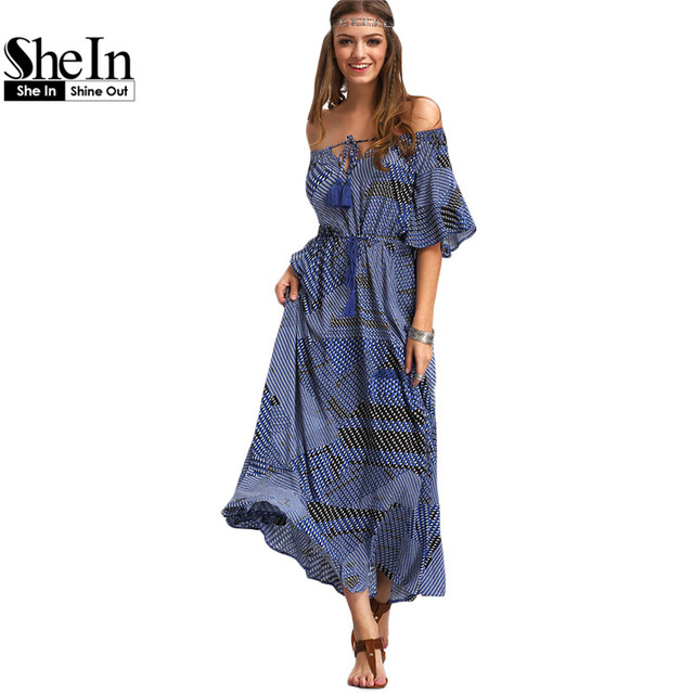 db38349a4d1 SheIn Ladies Dresses 2016 Summer New Arrival Vintage Womens Half Sleeve Off  The Shoulder Tie-