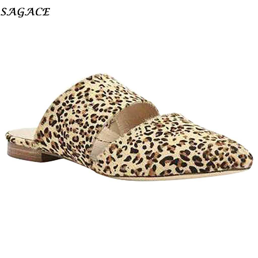SAGACE แบน MULE รองเท้าแตะสไลด์แฟชั่นผู้หญิง Leopard Pointed Toe รองเท้าผู้หญิงฤดูร้อนผู้หญิงรองเท้าแตะ Sandalias รองเท้า # 4Z