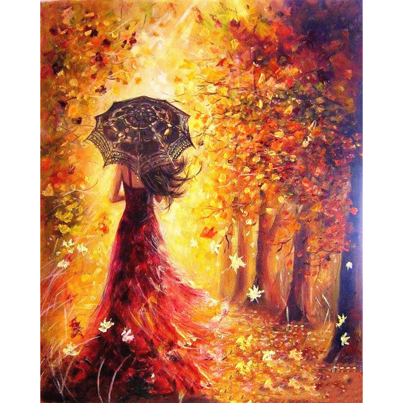 Autumn, Characters, Decorative, Girl, Room, Oil