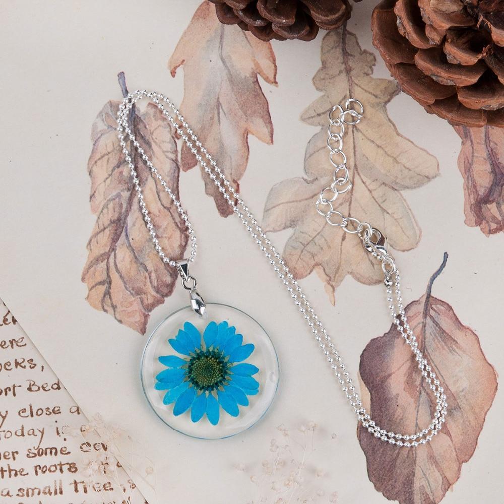 8 MEVSIM El Yapımı Boho Şeffaf Reçine Kurutulmuş Çiçek Papatya - Kostüm mücevherat - Fotoğraf 4