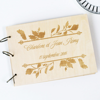 Unique Personalized Wedding Anniversary Bridal Shower Guest Book Gift Memory Album Laser Engraved Rustic Theme