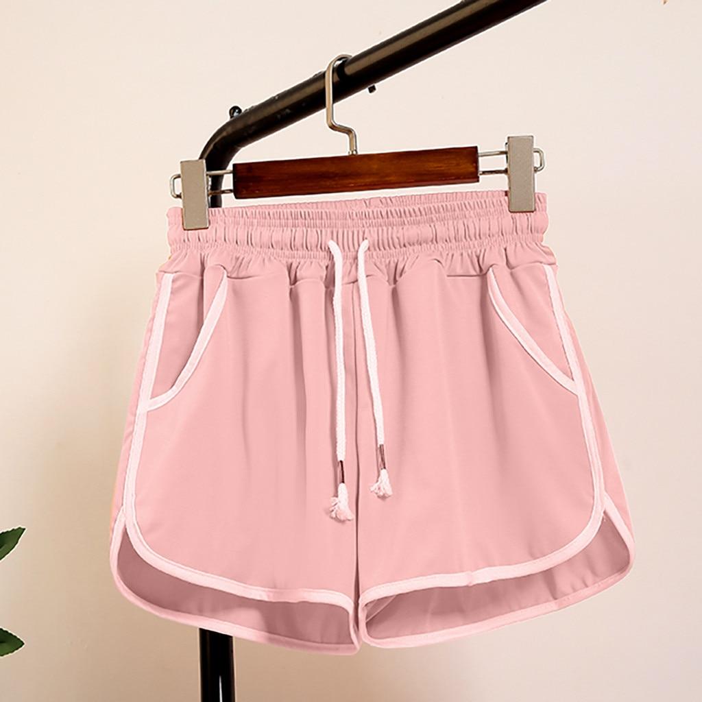 Shorts Women Shorts High Waisted Shorts For Women Spodenki Damskie Femme Solid Lace Up Sports Elastic Waiste Shorts Z4