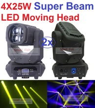 2xLot 2016 Super Beam 4x25W LED Moving Head Light Professional Stage Effect Lighting Cree Led Lamp Max Bright DMX DJ Party Light
