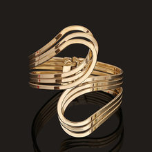 Fashion gold punk hip hop bangles upper arm bracelet for women(China)
