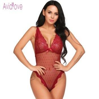 Avidlove Lace Lingerie Sexy Erotic Teddies Bodysuit Women Spaghetti Strap Lace Underwear Nightwear Sex Costume Porno Clothes 2