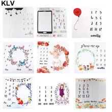 Фон для фотосъемки новорожденных детей с рисунком цифры, облаков, воздушных шаров, цветов