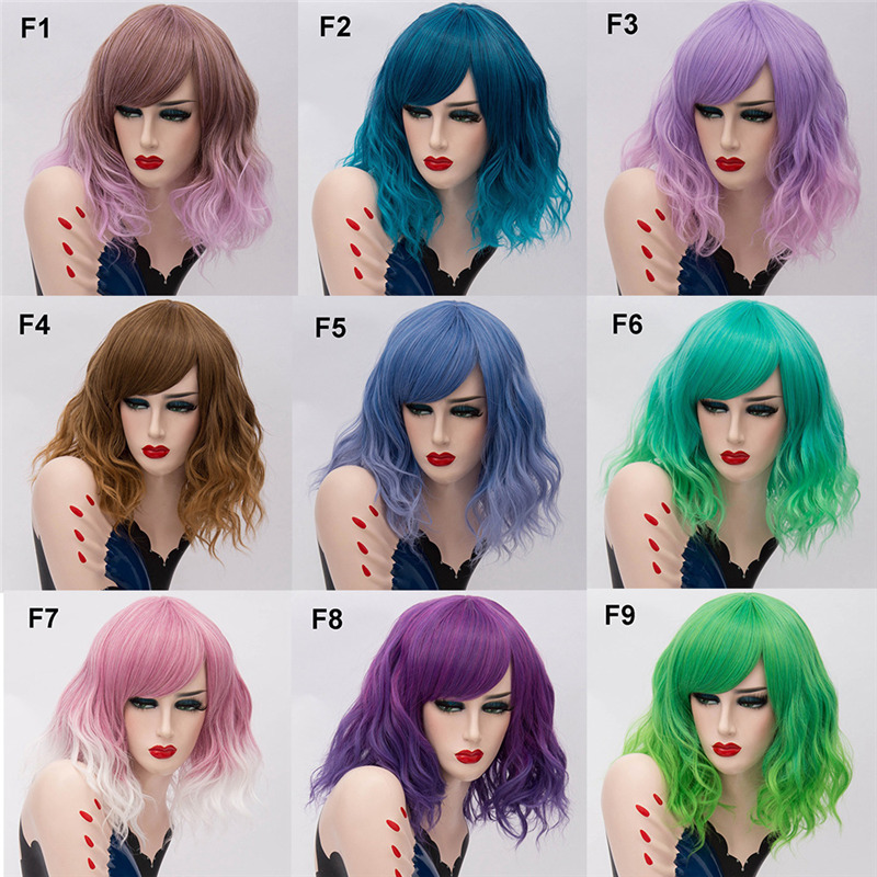 Image 3 - MSIWIGS Two Tones Short Cosplay Wigs for Women Pink White Wavy Ombre Wig with Bangs Purple Ombre Natural Synthetic Hair Wigs-in Synthetic None-Lace  Wigs from Hair Extensions & Wigs