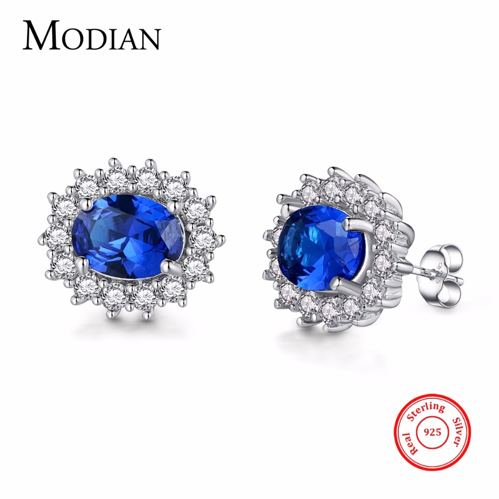 Modian 2017 Classic 100 Real 925 Sterling Silver Earrings Fashion Luxury Crystal Stud Earring Top Quality