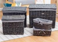 Dirty hamper rattan laundry wicker made old gray white retro storage basket Nordic clothing storage bucket