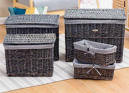 Suja cesto de vime lavanderia cesta de armazenamento de vime feita de idade cinza branco retro Nordic balde de armazenamento de roupas
