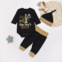 Cute Newborn Baby Boys Clothes Sets Cotton Long Sleeve Romper Pants Hats 3pcs Suits For Toddler