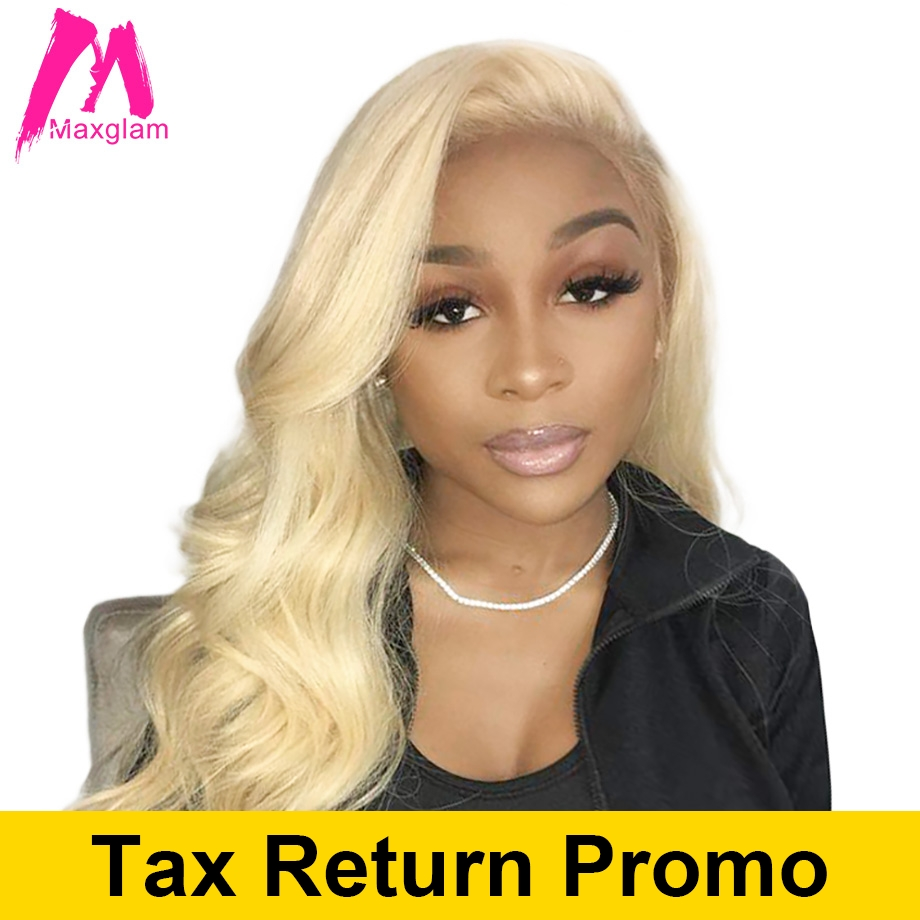 Maxglam Blonde Lace Front Wig 613 Human Hair Wigs for black women Pre Plucked With Baby Hair Brazilian Body Wave Hair Full End(China)