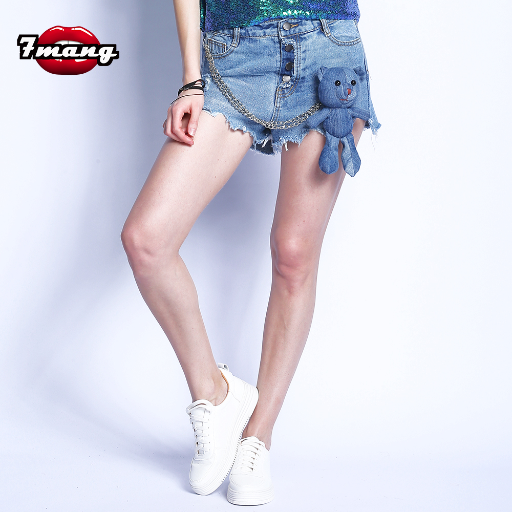 7mang 2017 new women novelty cute cartoon toy bear beading denim shorts hot high waist blue jeans shorts new denim mesh spliced fishnet sexy jeans shorts high cut vintage cute bikini low rise waist micro mini hot short culb wear f35