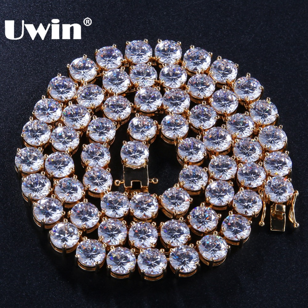 Uwin 8mm Bling Bling Cubic Zirconia CZ Tennis Chains Fashion Hiphop Iced Out Necklace For Men