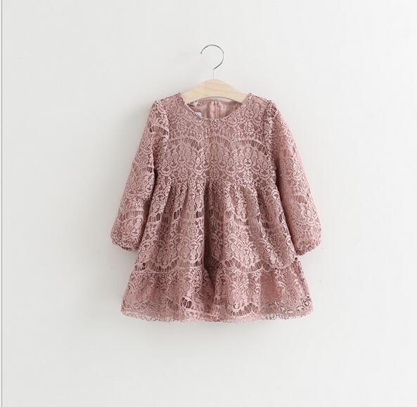 Baby Girls Crochet Lace Dresses Kids Girl Princess tutu Dress Autumn winter Party dress 2016 Babies Christmas Clothing