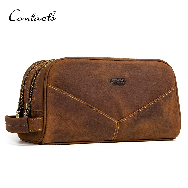 CONTACT'S Genuine Leather Cosmetic Bag For Men Vintage Crazy Horse Leather Man Make Up Bags Small Travel Bags Male Toiletry Bag